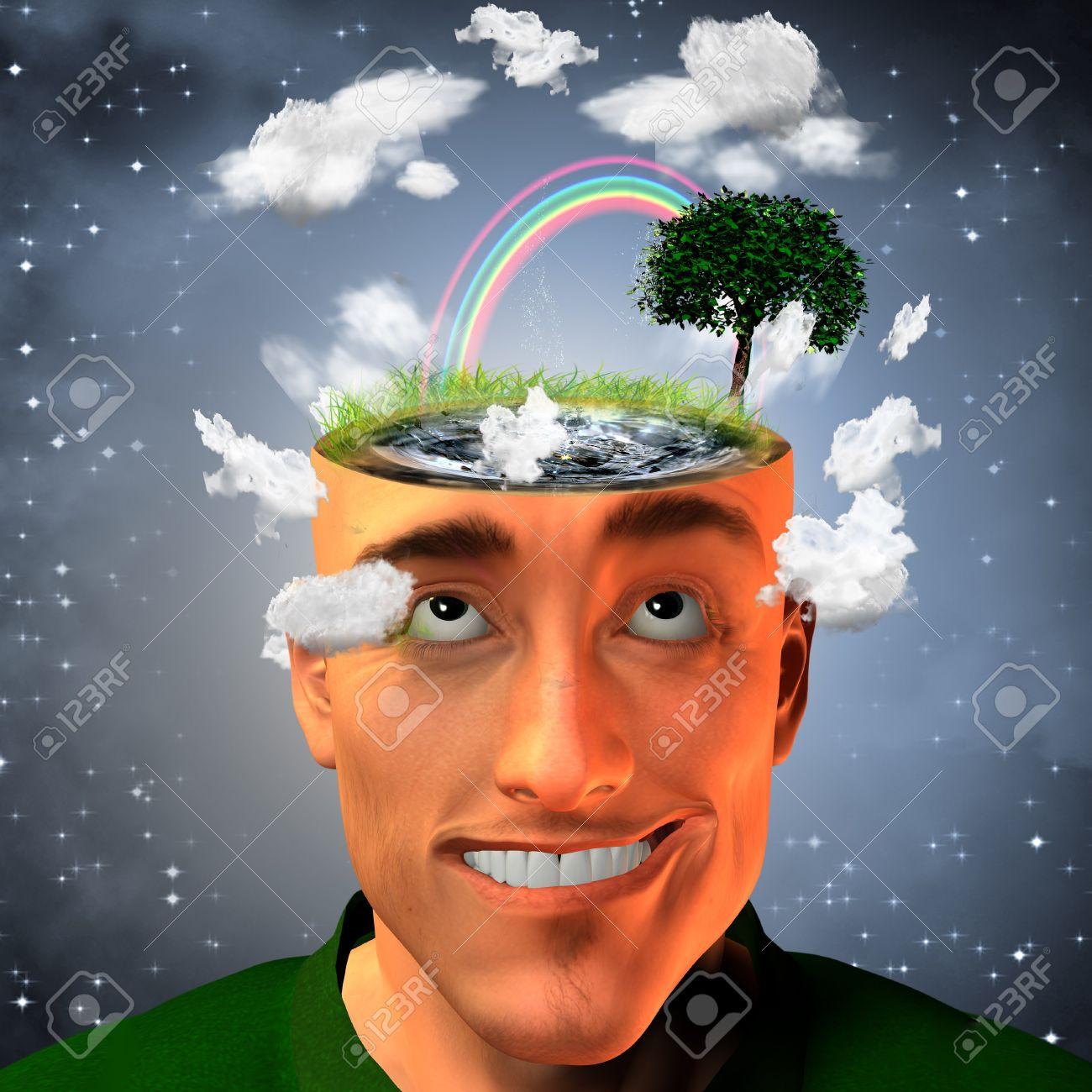 7254445-Hombre-con-l-quido-llena-la-cabeza-y-el-medio-ambiente--Foto-de-archivo